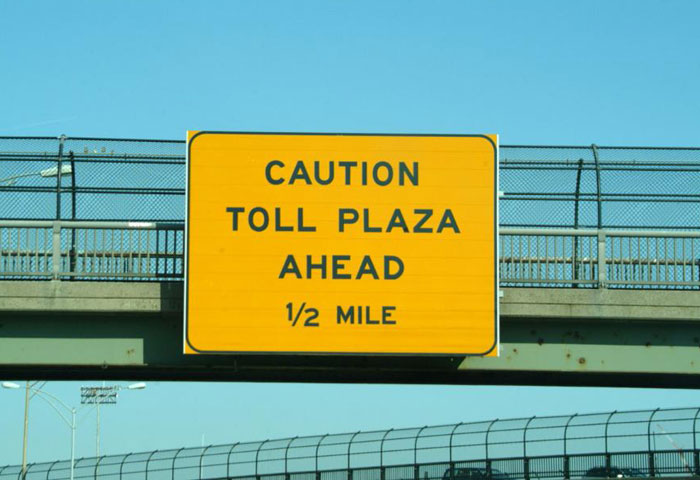 Caution Toll Plaza Ahead
