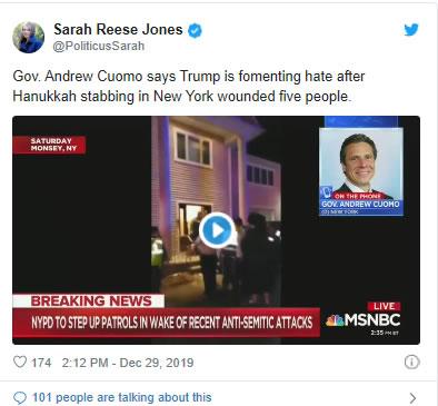 Cuomo Blames Trump for Hanukkah Stabbings